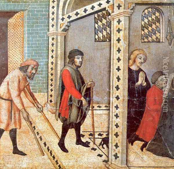 Scenes from the Legend of Saint Peter the Martyr- The Blind and Lame Pray at the Saint's Tomb 1440 Oil Painting - Sano Di Pietro