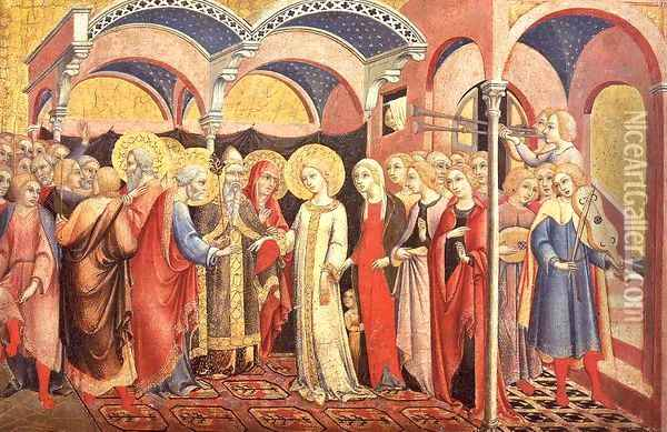 The Marriage of the Virgin 1488 Oil Painting - Sano Di Pietro