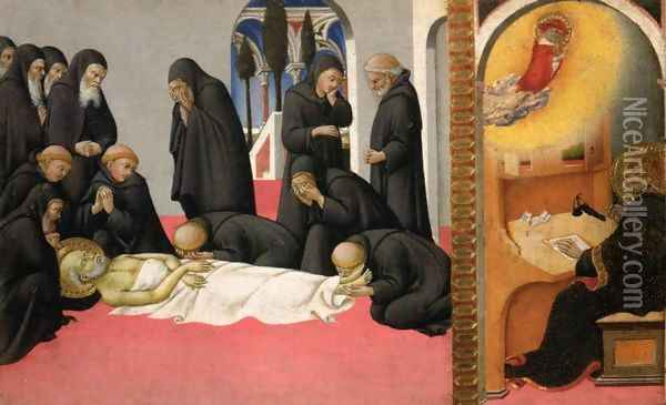 St. Jerome appearing to St. Cyril of Jerusalem, 1444 Oil Painting - Sano Di Pietro