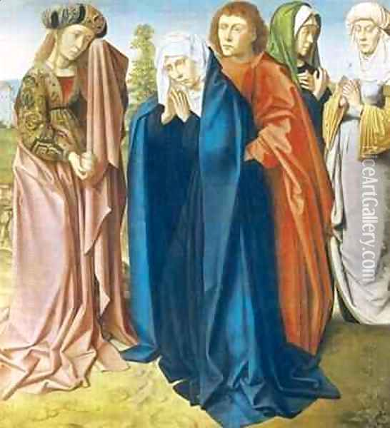 The Virgin Mary with St John the Evangelist and the Holy Women right wing from the Triptych of the Crucifixion Oil Painting - Gerard David