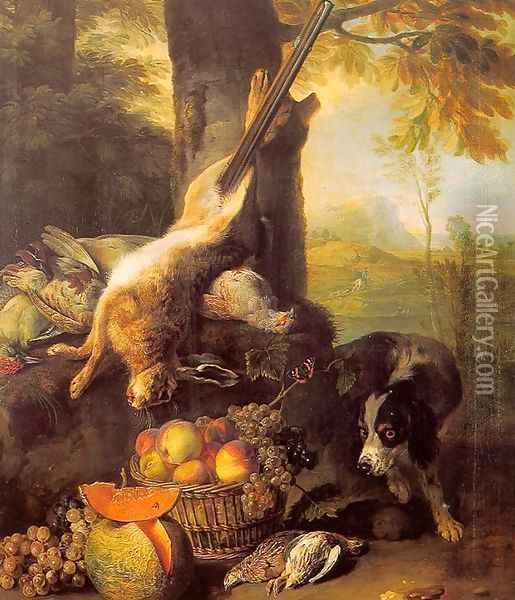 Still-Life with Dead Hare and Fruit 1711 Oil Painting - Alexandre-Francois Desportes