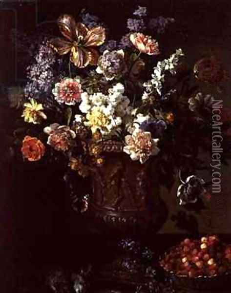 Flowers in a Sculpted Urn with a Bowl of Wild Strawberries and Hare on a Ledge Oil Painting - Alexandre-Francois Desportes