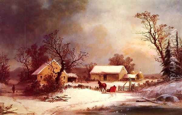 Winter-time on the Farm Oil Painting - George Henry Durrie