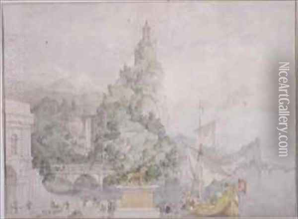 Landscape Composition Study for a Drop Scene for the Theatre at Broadmoor Asylum Oil Painting - Richard Dadd