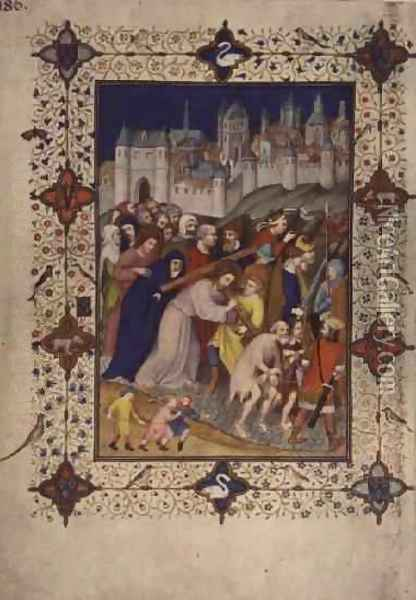 Hours of the Cross Sexte Christ Carrying the Cross from the Tres Riches Heures du Duc de Berry Oil Painting - Jacquemart De Hesdin
