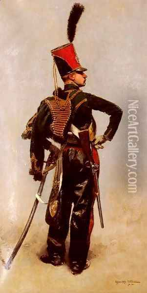 A Rank Soldier of the 7th Hussar Regiment Oil Painting - Jean Baptiste Edouard Detaille