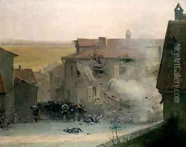 A War torn Village Oil Painting - Jean Baptiste Edouard Detaille