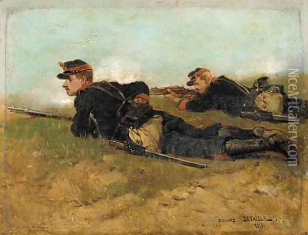 Soldiers in the field Oil Painting - Jean Baptiste Edouard Detaille