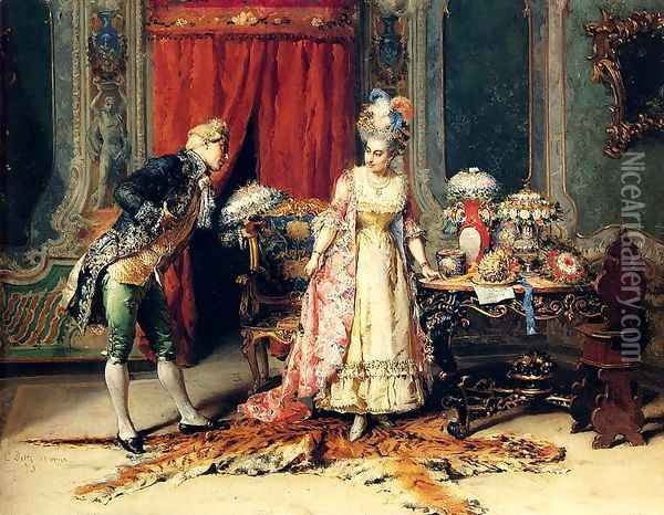 Flowers For Her Ladyship Oil Painting - Cesare-Auguste Detti