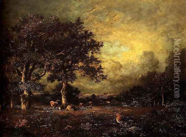 Landscape with Cows Oil Painting - Jules Dupre