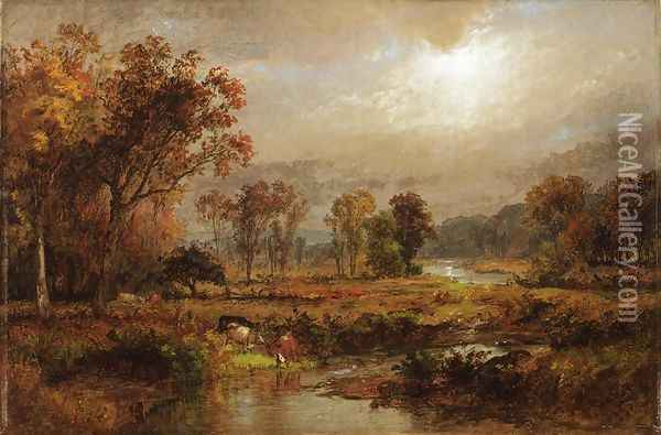 Cattle Watering Oil Painting - Jules Dupre