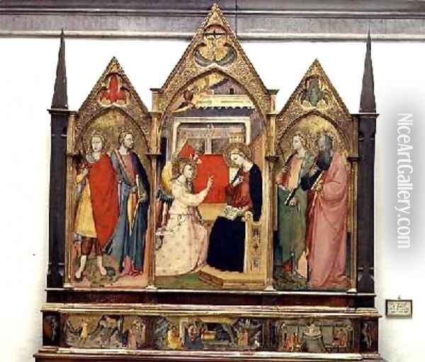 Annunciation with Saints 1414 Oil Painting - Bicci Di Lorenzo