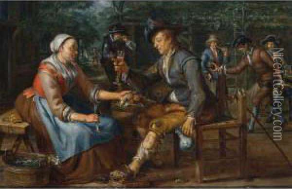 A Lady Offering A Herring And An  Onion To A Soldier Holding A Glass Of Beer, Other Soldiers Playing  Skittles Beyond Oil Painting - Matthijs Naiveu