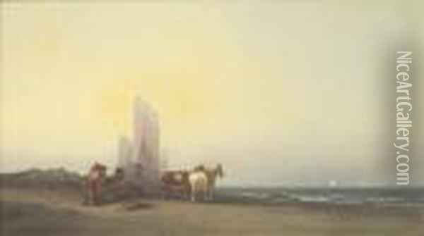 A Coastal View With Figures And Horses On A Beach Oil Painting - George Washington Nicholson