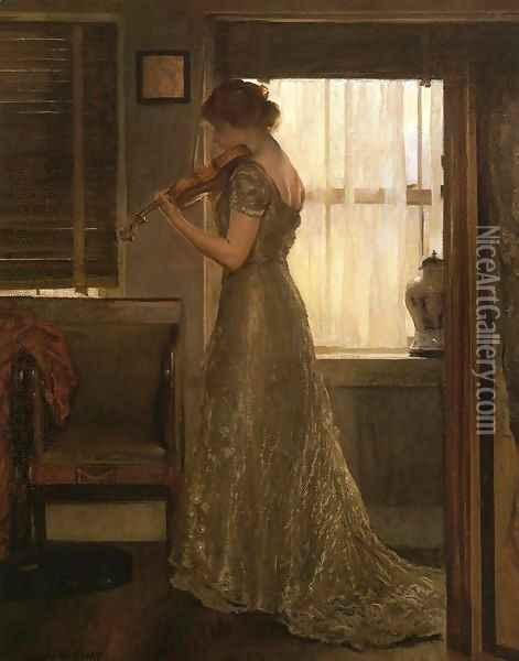 The Violinist (or The Violin: Girl with a Violin III) Oil Painting - Joseph Rodefer DeCamp