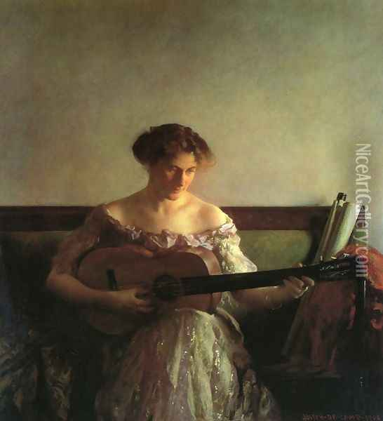 The Guitar Player 2 Oil Painting - Joseph Rodefer DeCamp