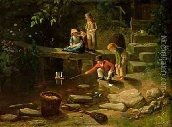 Boy Sailing a Little Boat Oil Painting - Francis Danby