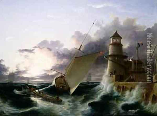 Boat by a Lighthouse a Squall Going Off Oil Painting - Francis Danby
