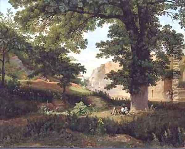 Clifton Rocks from Rownham Fields Oil Painting - Francis Danby