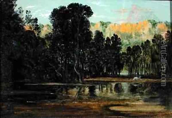 A Wooded Landscape at Sunset Oil Painting - Francis Danby