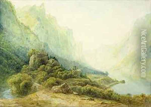 A Norwegian Fjord Oil Painting - Francis Danby