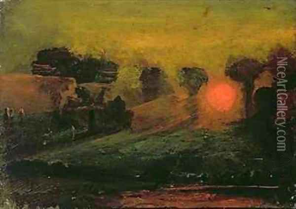 Sunset through Trees Oil Painting - Francis Danby