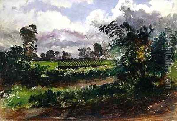 A View across the Artists Garden from his House at Exmouth Devonshire Oil Painting - Francis Danby