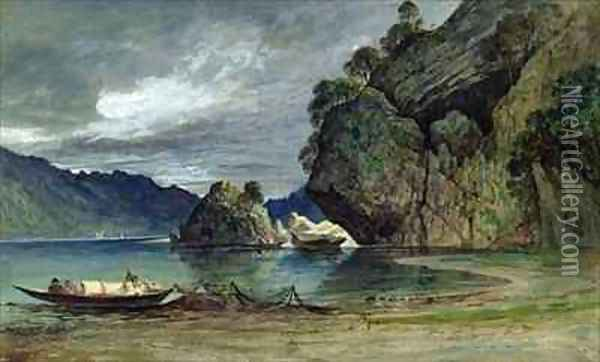 The Approach of a Storm on Liensfjord Oil Painting - Francis Danby