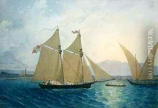 The Launch La Sociere on the Lake of Geneva Oil Painting - Francis Danby