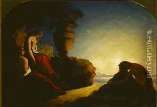 The three sisters of Phaeton weeping over the tomb of their brother Oil Painting - Francis Danby