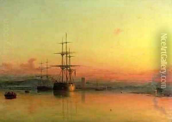 Dead Calm Sunset at the Bight of Exmouth Oil Painting - Francis Danby