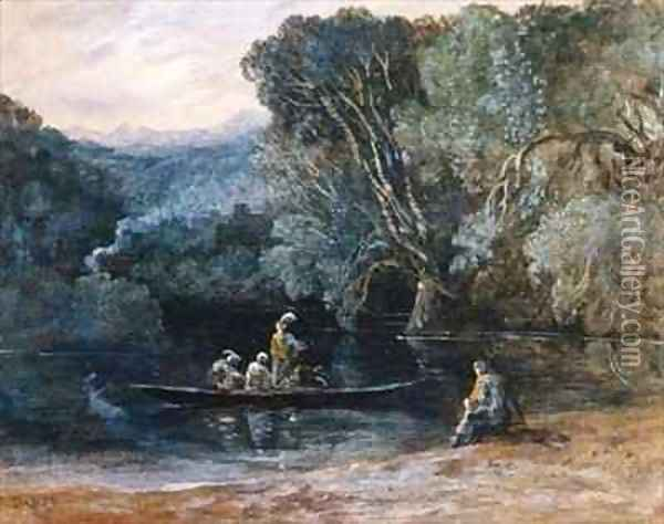 River scene with boat and figures Oil Painting - Francis Danby