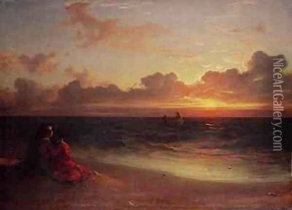 Sunset Oil Painting - Francis Danby