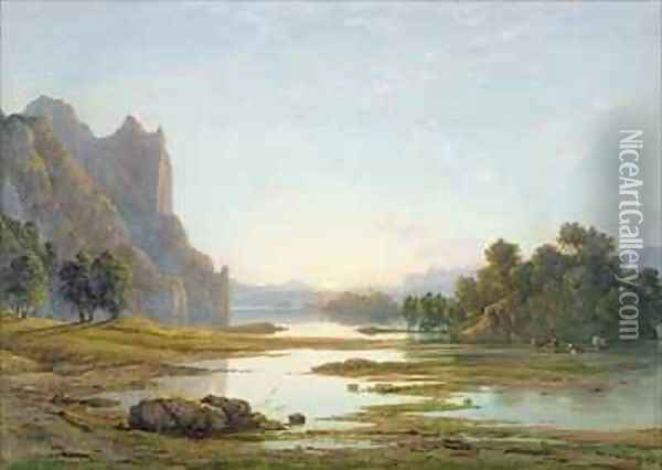 Sunset over a River Landscape Oil Painting - Francis Danby