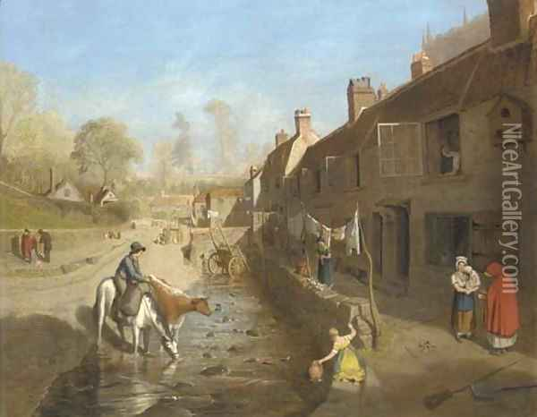 Figures by a village stream with figures by terraced houses Oil Painting - Francis Danby