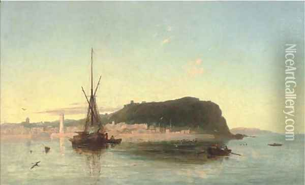 Fishing boats off a coastal landscape Oil Painting - Francis Danby