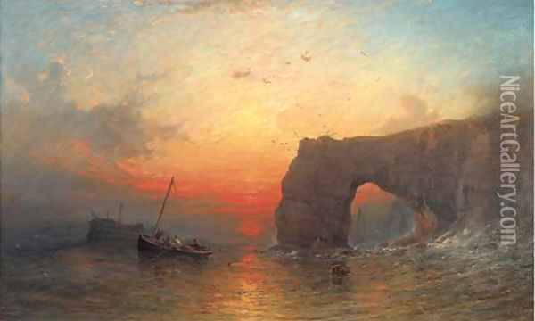 Investigating the derelict at dusk Oil Painting - Francis Danby