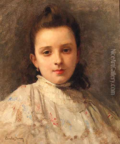 A Portrait Of A Young Girl Oil Painting - Carolus (Charles Auguste Emile) Duran