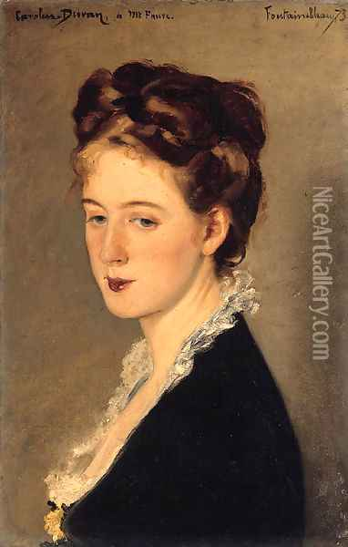 Portrait of Madame Faure, the artist's sister in law, bust length Oil Painting - Carolus (Charles Auguste Emile) Duran