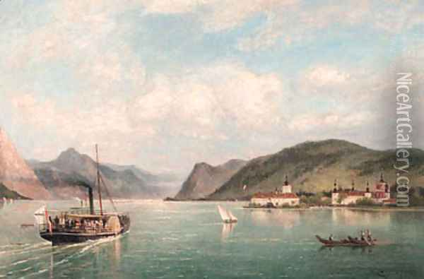 A view of Ort Castle on the Traun See, Austria Oil Painting - Cornelis Christiaan Dommelshuizen