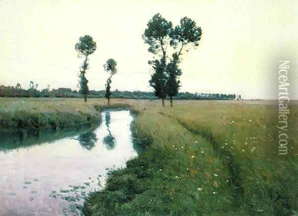 The Path Along the River, 1890 Oil Painting - Charles Harold Davis