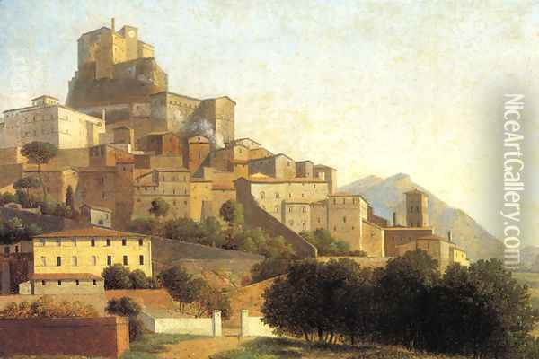 Hill Town in Italy Oil Painting - Alexandre-Hyacinthe Dunouy