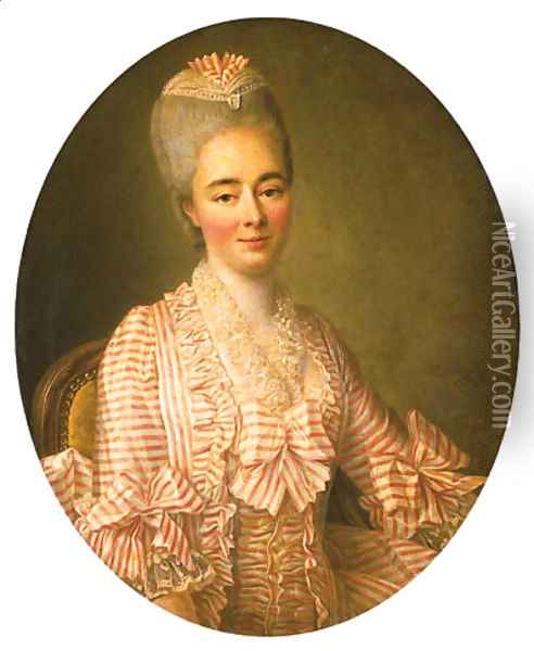 Portrait of a Lady, said to be Yvonette Moulin de la Racinire, seated half-length, in a pink and white striped dress with lace trimmings Oil Painting - Francois-Hubert Drouais