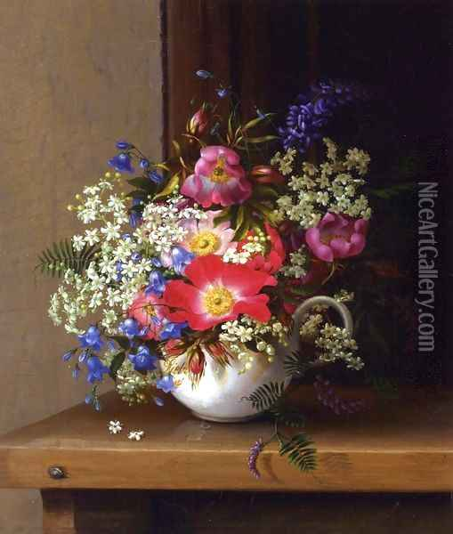 Still Life with Dog Roses, Larkspur and Bell Flowers in a White Cup Oil Painting - Adelheid Dietrich