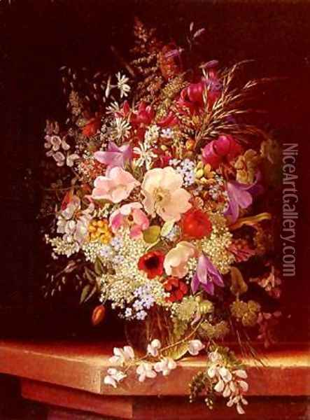 Still Life With Flowers 2 Oil Painting - Adelheid Dietrich