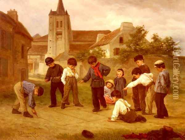 Hopscotch Oil Painting - Theophile-Emmanuel Duverger
