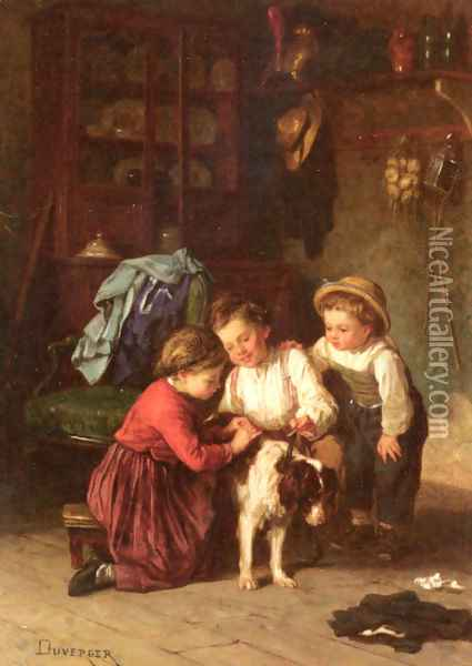 The Patient Pet Oil Painting - Theophile-Emmanuel Duverger