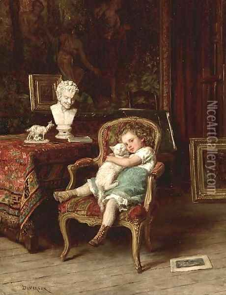 Best Friends Oil Painting - Theophile-Emmanuel Duverger