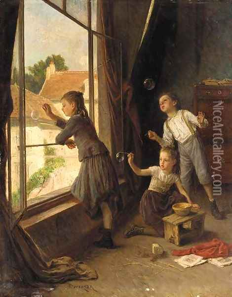 Blowing bubbles Oil Painting - Theophile-Emmanuel Duverger