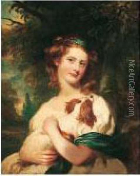 Portrait Of A Young Girl With A Blenheim Spaniel Oil Painting - James Northcote